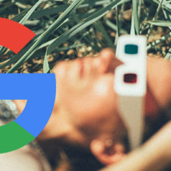 Google Logo with man in grass